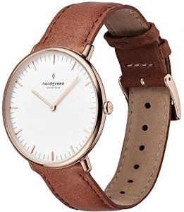 Native White Dial Brown Leather