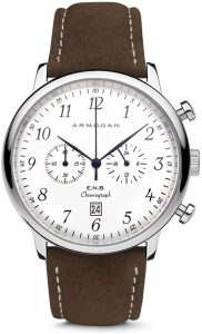 Armogan E.N.B Silvered Whited C81- Men's Chronograph Watch Brown Suede Leather Strap