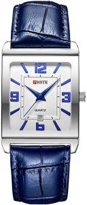 PHSTE Men's Square Analog Quartz Watch with Calfskin Leather band