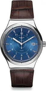 Swatch Men's Digital Quartz Watch with Leather Strap YIS404