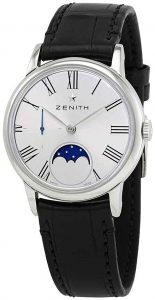 Zenith Elite Lady Silver-Tone Dial Moon Phase Stainless Steel and Leather Watch