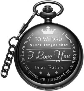 LYMFHCH Men's Black Unique Pocket Watch