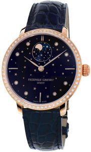 Frederique Constant Slimline Diamond-Set Blue Dial Moon Phase Watch
