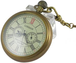 VIGOROSO Men's Vintage Full Copper Hand-wind Pocket watch