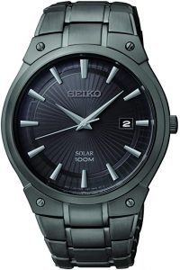 Seiko Black Ion-Finish Solar Calendar Dress Watch
