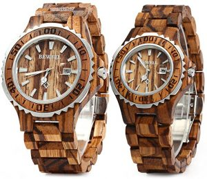 BEWELL ZS-100 B Couple Wooden watch with date display