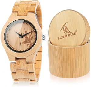 BOBO BIRD Men & Women Elk engraved Bamboo Wooden watch