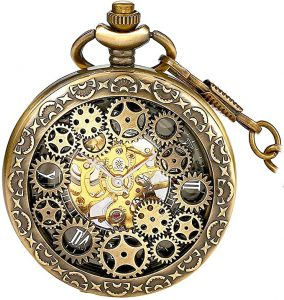BOSHIYA Men's Vintage skeleton pocket watch