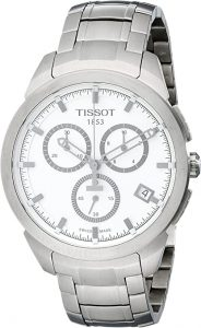 Tissot T0694174403100 Titanium Quartz Chronograph Watch with White Dial