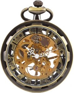 Carrie Hughes Men's Open Face Skeleton Pocket Watch