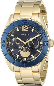 Guess Blue Dial Moon Phase Stainless Steel Watch