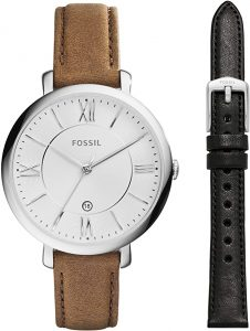 Fossil Women Jacqueline Stainless-steel and Leather casual Quartz watch