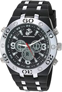 US Military Men's Analog-Digital Chronograph Silver-Time and Black Silicone Strap Watch by Wrist Armor